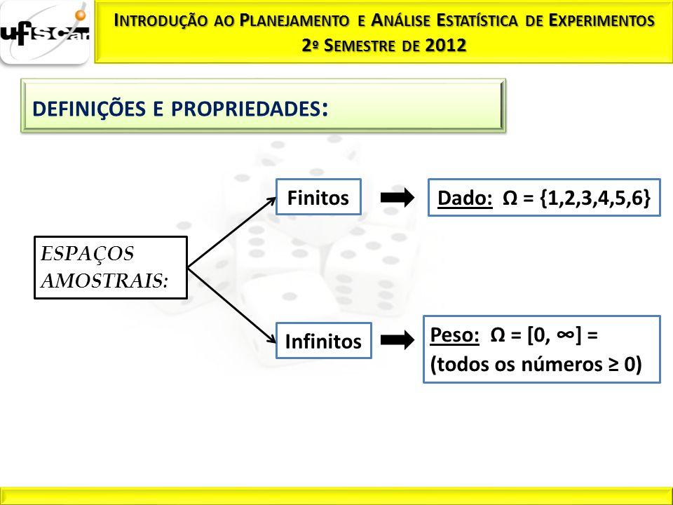 Peso: Ω = [0, ∞] = (todos os números ≥ 0) Infinitos